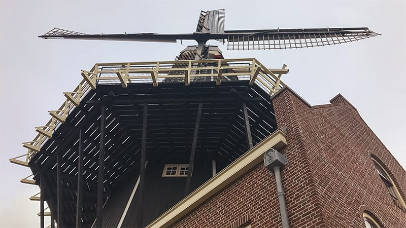 View looking up at De Aadrian Windmill