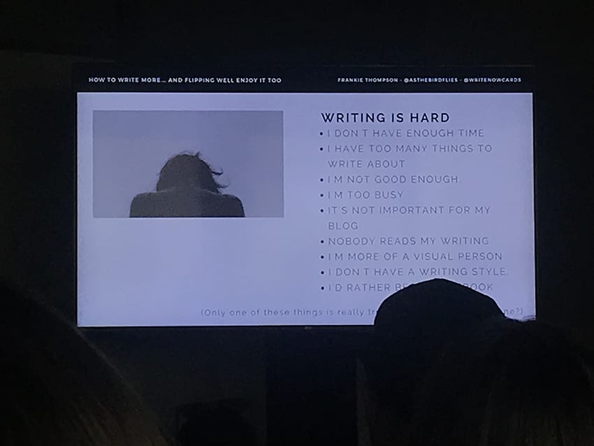 "Frankie Thompson's talk ""How to write more (and flipping well enjoy too)"" at Traverse18"