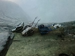 Sledges for sulphur on Ijen volcano | The Silver Nomad