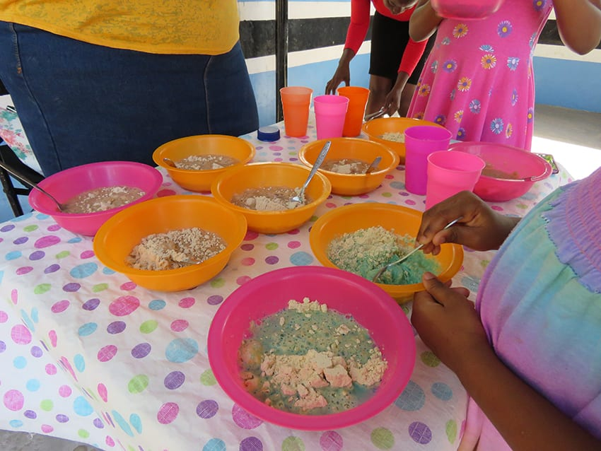 Nutrimeal being prepared for the children at Feed a Child