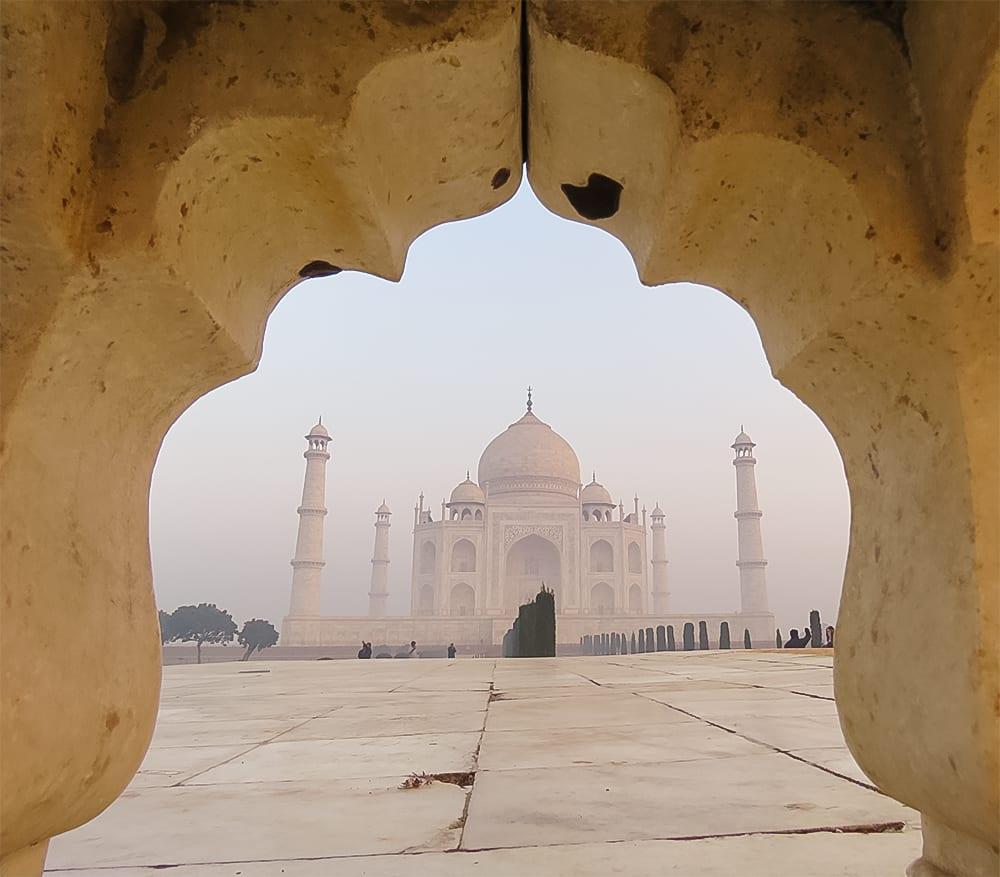 Taj Mahal through bench
