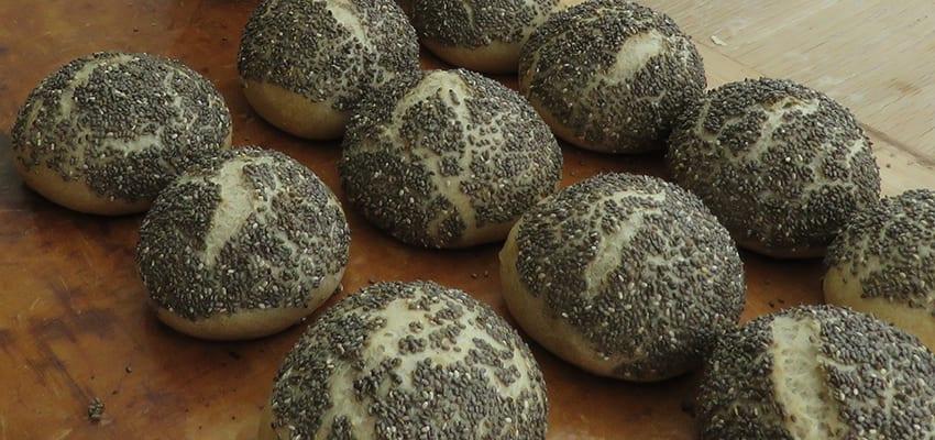 Organic chia seed bread rolls