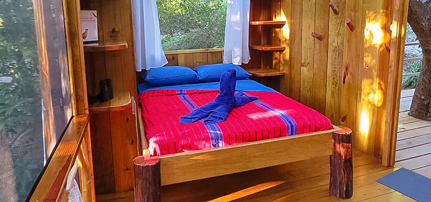 Inside the bedroom at the treehouse