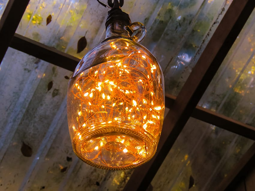 bottle light in the treehouse