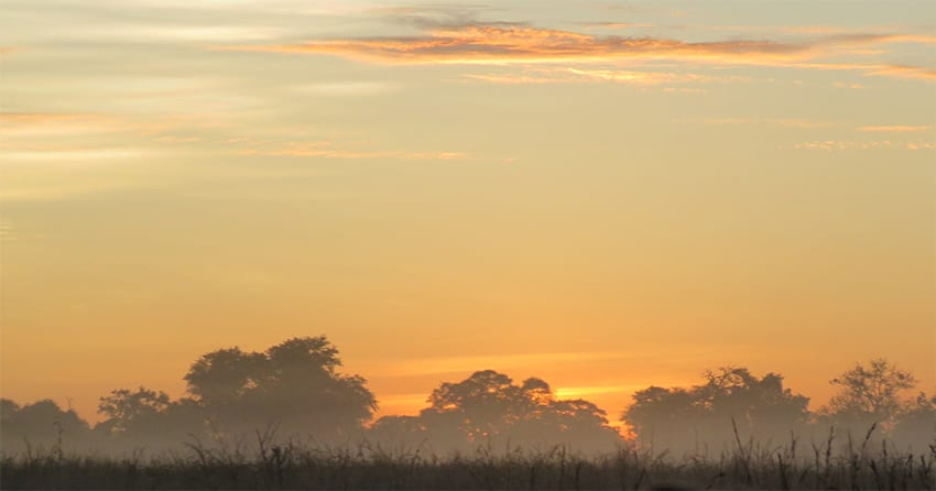 dawn over Kwando Lagoon safari