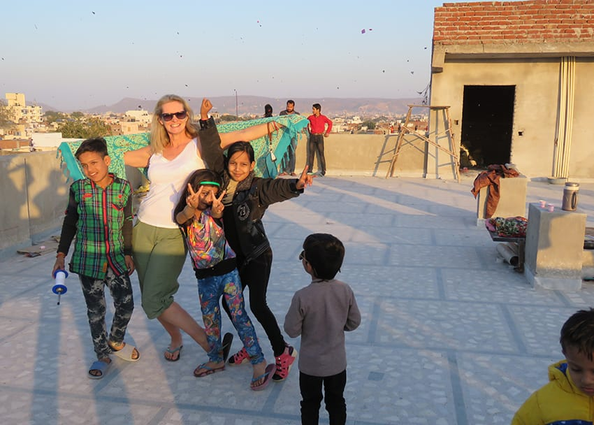 Larch with the children at the Kite Festival Jaipur
