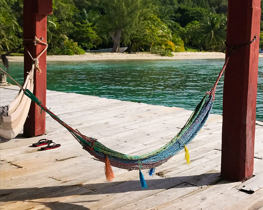 Lazing in hammocks in Guanaja
