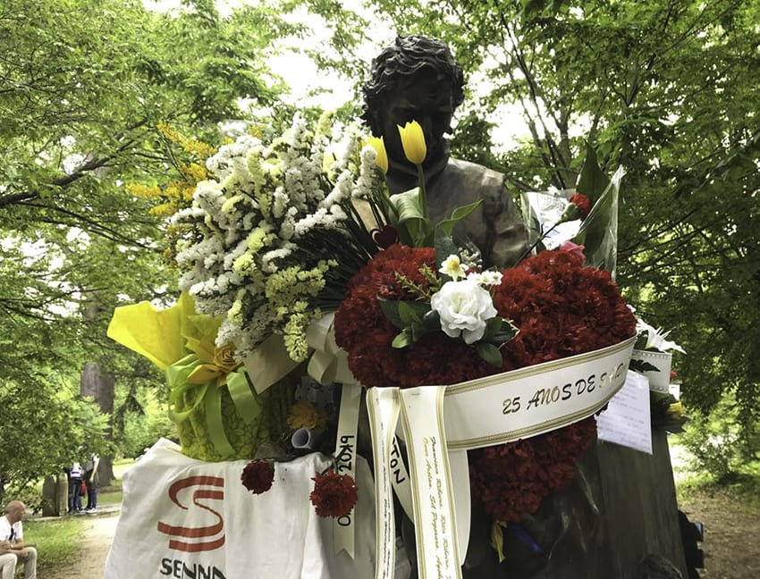 Statue of Ayrton Senna in Imola copyright Grand Prix Photo - thank you to Peter Nygaard for permission to use this photo