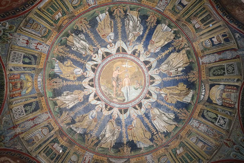 Ceiling of the Battistero Neonaino depicting Christ being baptised by John surrounded by Christ's apostles in Ravenna