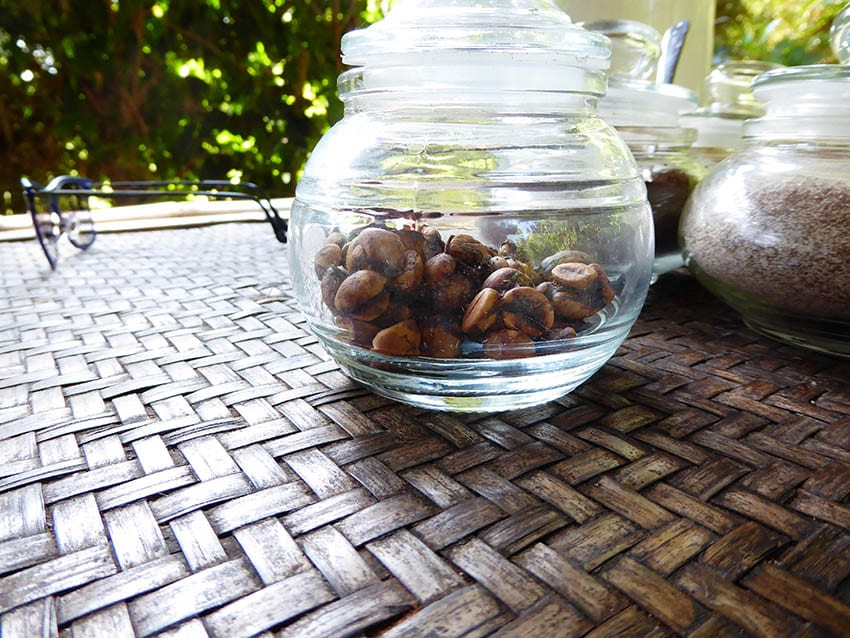 Luwak coffee bean in a glass jar on a woven bamboo table