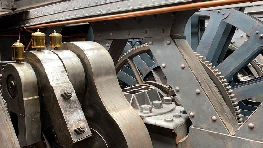 The cogs and wheels of the engine room on the SS Great Britain