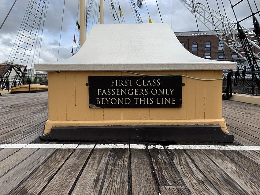 First Class Passengers only sign on the Upper Deck of the SS Great Britain