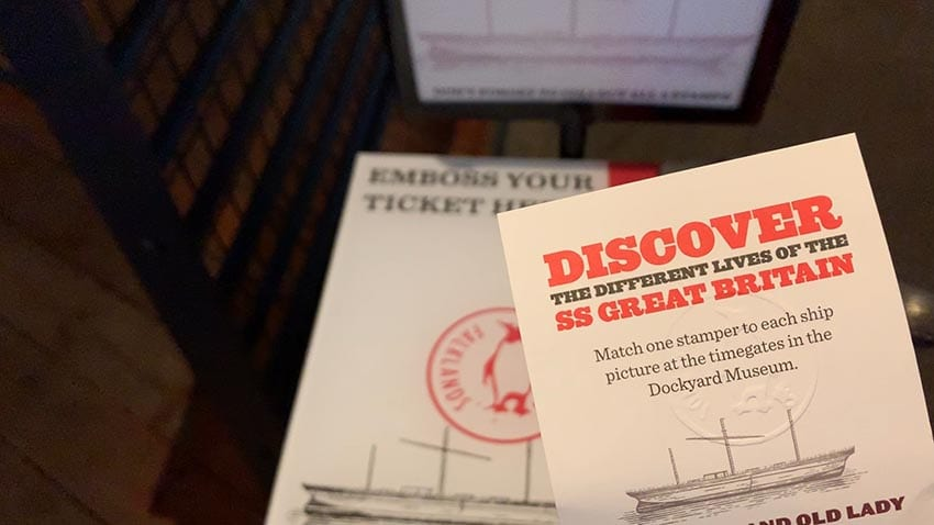 Embossed stamp on cream card Discover the Different Lives of the SS Great Britain