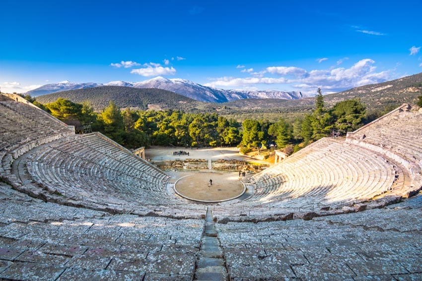 "The ancient theater of Epidaurus (or ""Epidavros""), Argolida prefecture, Peloponnese, Greece."