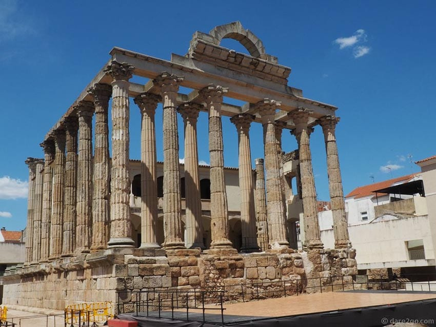 Ruins of the Temple of Diana in Merida, Spain. The photo shows the columns topped with an arched pediment