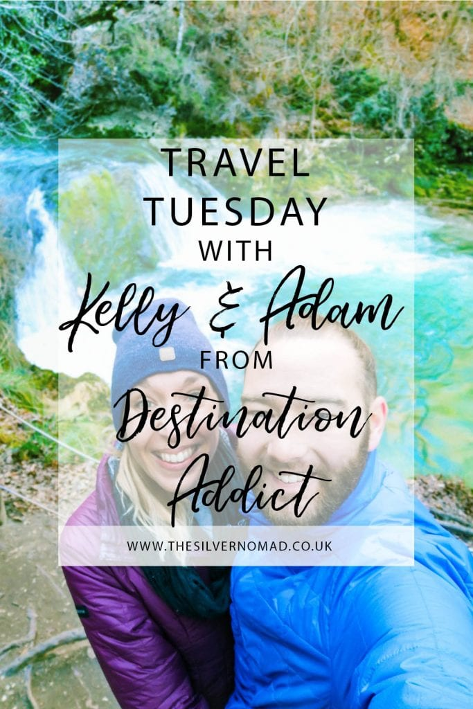 Image of two people with text overlaid saying Travel Tuesday with Kelly & Adam form Destination Addict