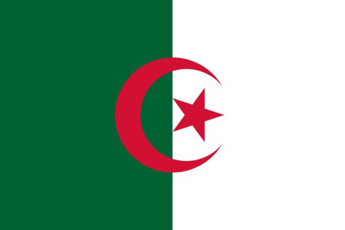 Flag of Algeria - left hand dark green, right hand white with red crescent and star in the middle