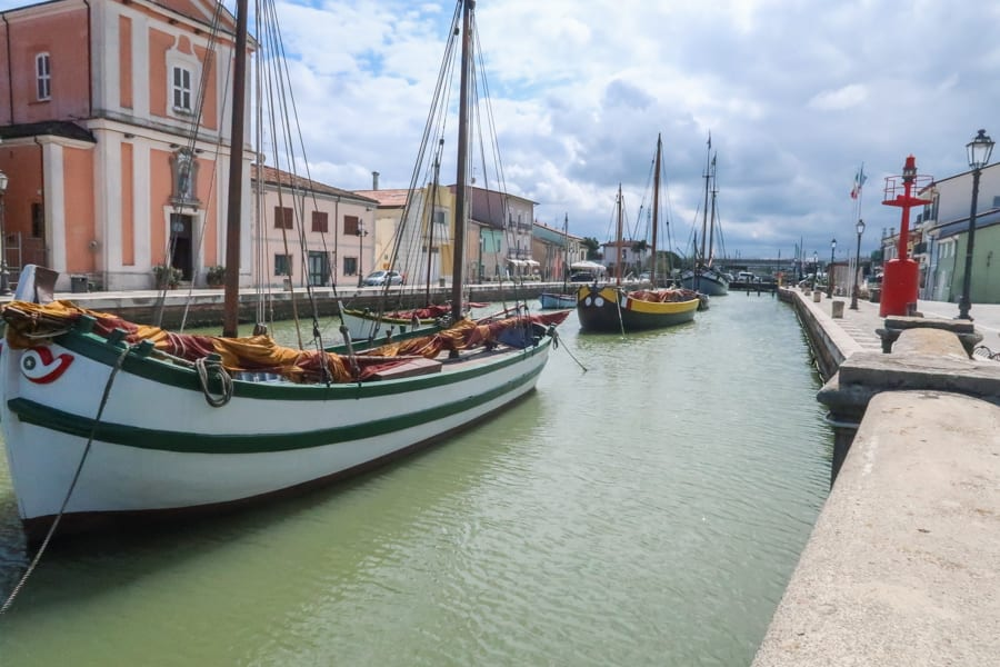 10 traditional boats in the floating section of the Museo della Marineria in Cesenatico