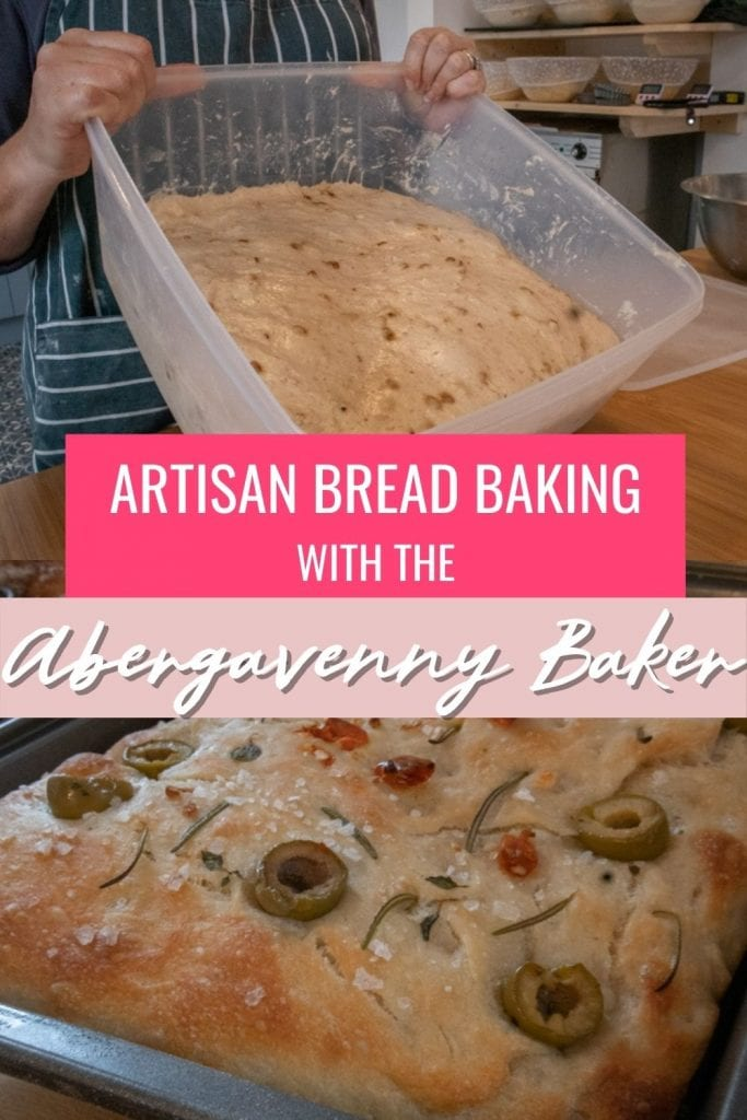 Image of a plastic container of dough and focaccia with white text overlay on bright pink and pale pink saying Baking Artisan Bread Baking with the Abergavenny Baker