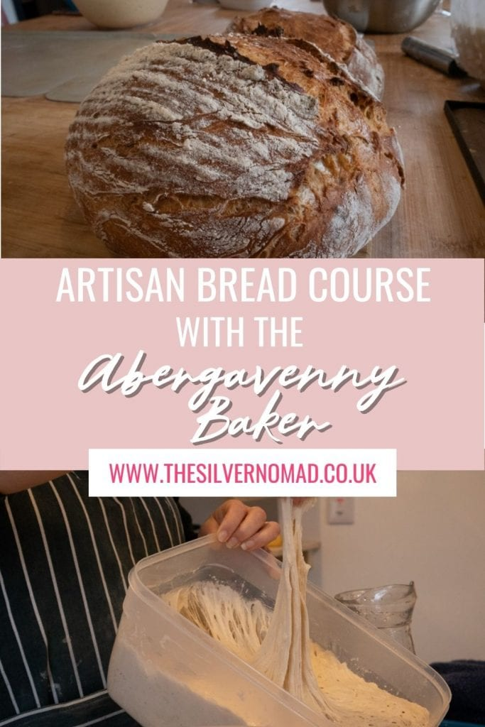Image of a loaf of bread on top and dough being pulled out of a plastic container with white text overlay on pale pink saying Artisan Bread Course with the Abergavenny Baker