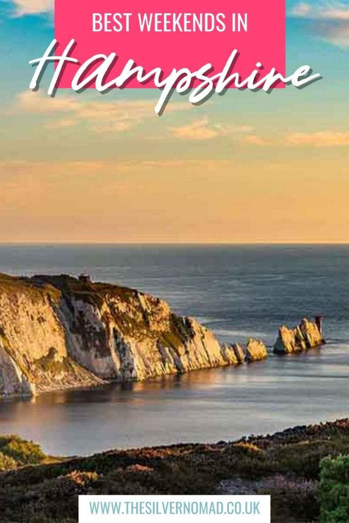 image of cliffs in the sea with Best Weekends in Hampshire superimposed