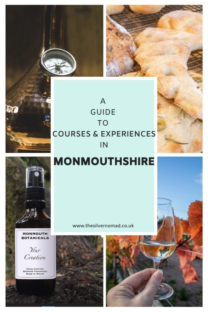 four pictures - a copper vessel with dial, bread, scent bottle and glass of wine with text superemposed saying A Guide to Courses & experiences in Monmouthshire on a box of blue