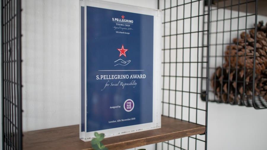blue award saying S. Pellegrino Award for Social Responsibility