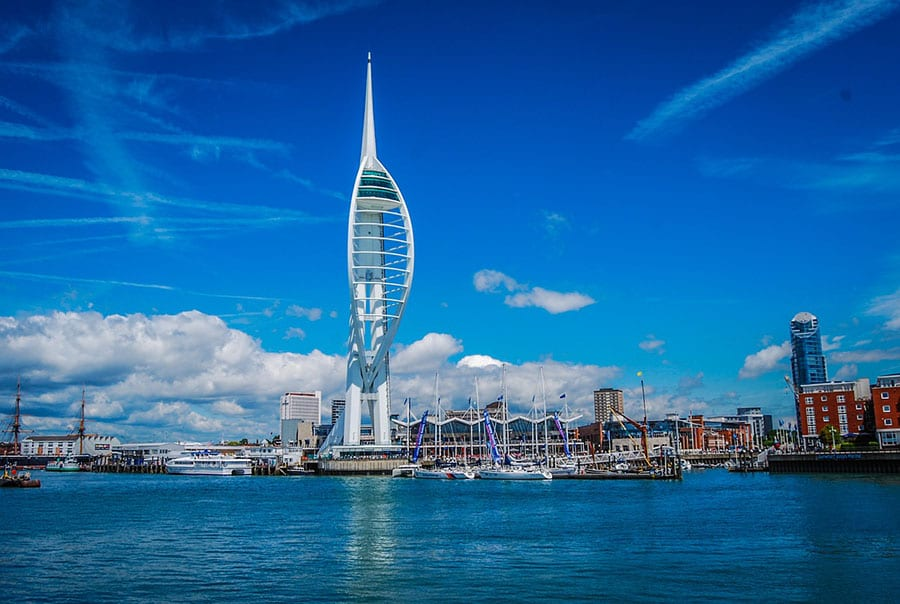 Spinnaker Tower, a pointed tower with open tiers surrounded