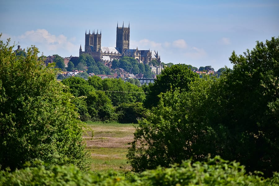 Lincoln Cathedral across the fields with trees in the foreground