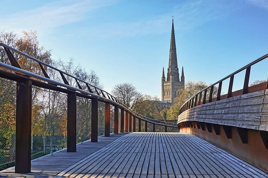 Spires of Norwich Cathedral from bridge