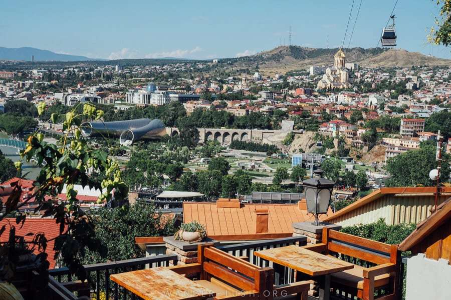 view over Tbilisi with cable car