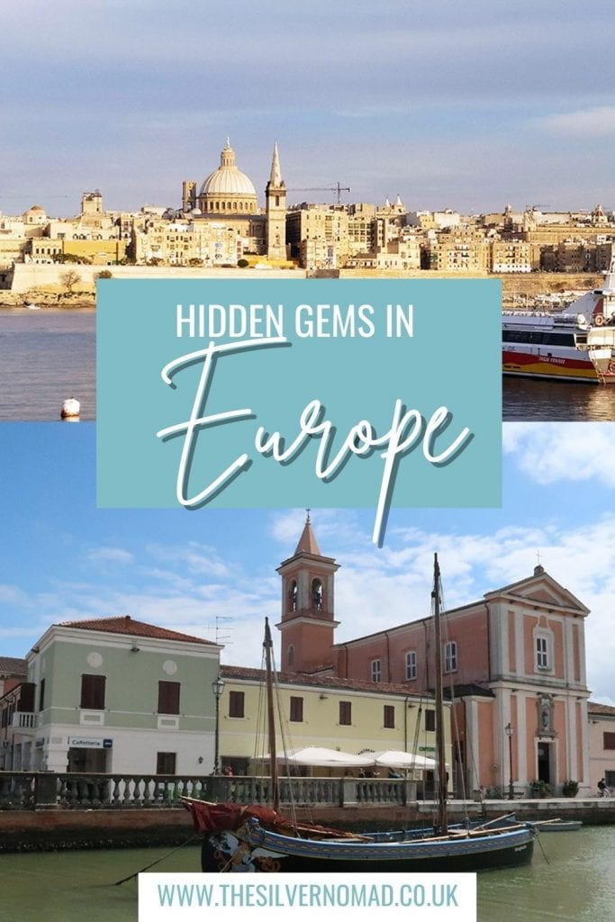 image of a city with a dome on the top and pastel coloured buildings with a boat in front on the bottom with the words Hidden Gems in Europe superimposed