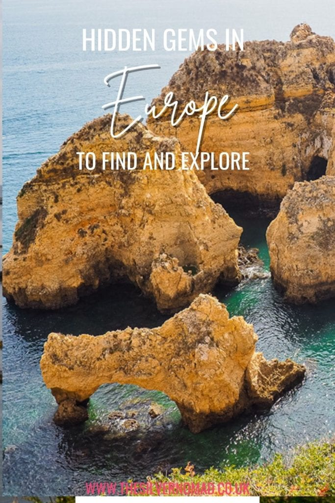 caramel coloured rocks in the sea with the words Hidden Gems in Europe to find and explore superimposed