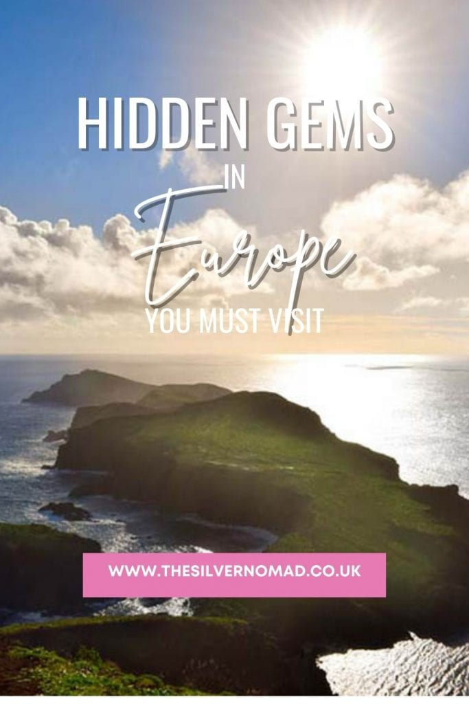 green islands in the sea with the words Hidden Gems in Europe to find and explore superimposed